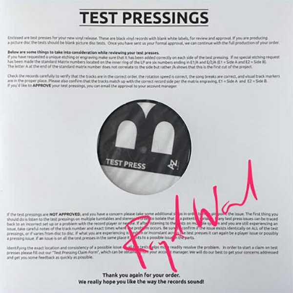 "Signed Limited Edition ""Vinyl Test Pressing"" of ""Ever After The Farewell"" + Digital Download + 5 Bonus Songs"